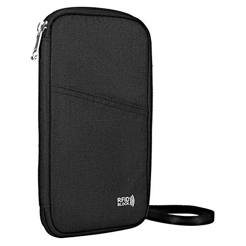 Travel Neck Pouch Passport Wallet with RFID Blocking ,KEAFOLS Family Passport Holder Case Travel Document Zipper Organizer Bag Purse Keep Cash Cards Safe with Removable Strap