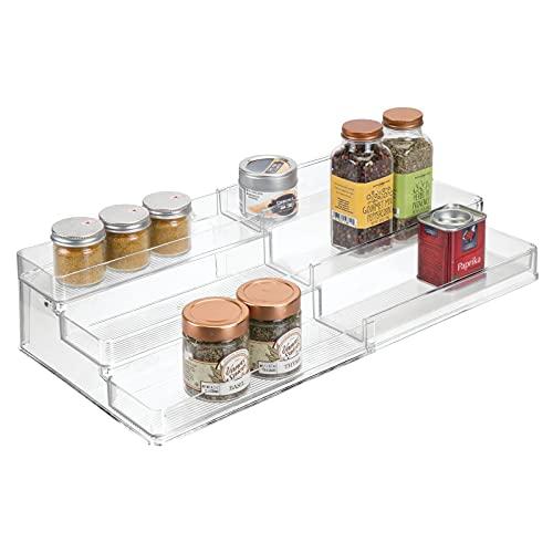 mDesign Especiero extensible de plástico – Estante para especias y condimentos – Ideal accesorio de cocina para organizar especias – Especiero con 3 niveles – transparente