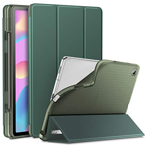 INFILAND Hülle für Samsung Galaxy Tab S6 Lite, Transluzent TPU Schutzhülle mit S Pen Halter für Samsung Galaxy Tab S6 Lite 10.4 Zoll (SM-P615/P610) 2020, Auto Schlaf/Wach,Dunkelgrün