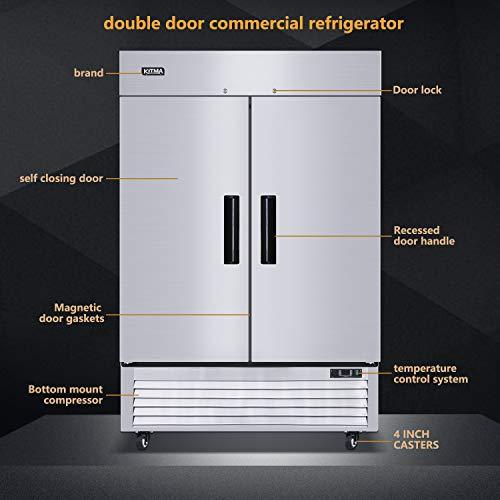 Refrigerador comercial de dos secciones de 54 pulgadas para puerta ...