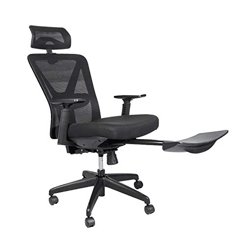 Bonzy Home Reclining Office Chair - 300 LB Capacity Ergonomic Computer Mesh Recliner - Executive Swivel Office Desk Chair - Task Chair with Hidden Footrest and Lumbar Support (Black Footrest)
