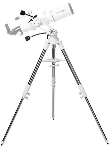 Bresser Azimutale Teleskop Montierung Twilight I mit 3-Bein-Stativ aus Edelstahl, flexiblen Antriebswellen und universeller GP-Prismenaufnahme mit einer Traglast von bis zu 8 kg, weiß