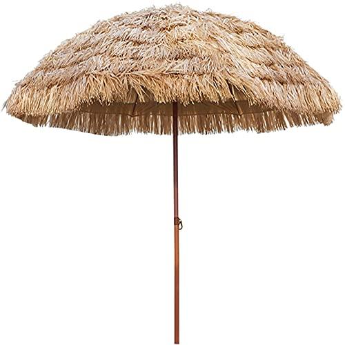 Y-M-H Parasol Decorativo Plegable Al Aire Libre Playa Jardín Paja Parasol Paraguas con Función De Inclinación para Jardín, Balcón, Patio Trasero Color Natural(Size:2.4m)