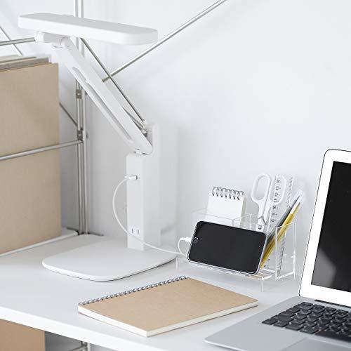 こちらは、スマホスタンドと小物収納を兼ね備えた便利グッズ。収納スペースは2箇所あり、ペンや定規、電卓などを立てられます。アクリル素材は、どんなデスクにも馴染み圧迫感なく使えるのが◎