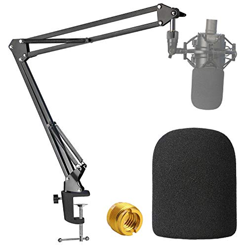 Audio-Technica AT2020 Mic Boom Arm with Foam Windscreen, Suspension Boom Scissor Arm Stand with Pop Filter Cover for Audio-Technica AT2020 Microphone by SUNMON