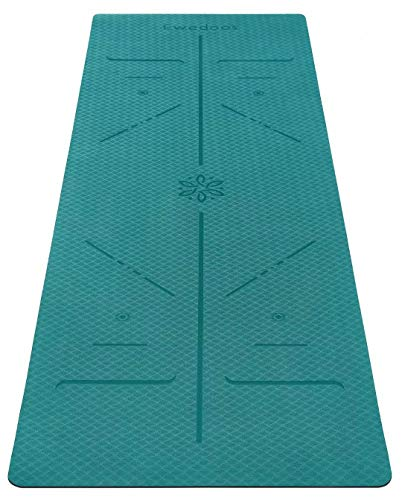 Ewedoos Eco Friendly Yoga Mat with Alignment Lines, TPE Yoga Mat Non Slip Textured Surfaces ¼-Inch Thick High Density Padding To Avoid Sore Knees, Perfect for Yoga, Pilates and Fitness (Jade)