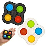 Fidget Spinner Simple Dimple Toys pack Stress Relief Anxiety Spin for kids boys Adults girls Autism tangle figit tiny Hands Spinners toy Push Pop Bubble for home etc (2PCS:black+white(4 sides))