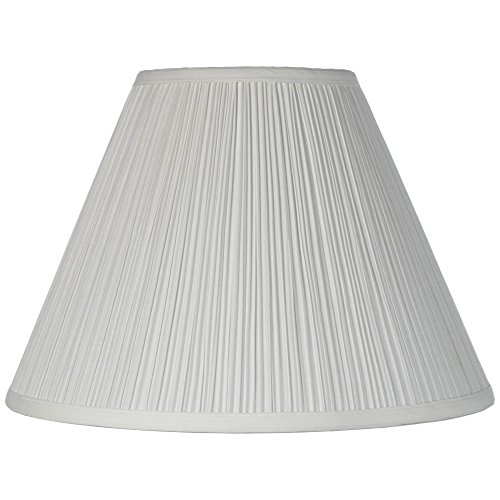 Brentwood White Medium Lamp Shade 6.5' Top x 15' Bottom x 10.5' High x 11' Slant (Spider) Replacement with Harp and Finial - Brentwood
