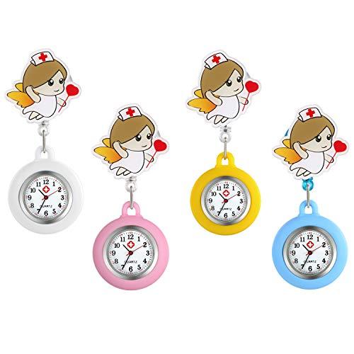 Reloj de Enfermera Silicona 4 Piezas Reloj Médico de Colores, Broche de Mental, Pulsera Elástica 8cm, Regalo Navidad