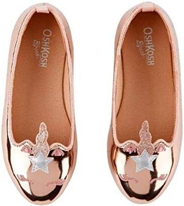 Baby Girls OshKosh Rose Gold Unicorn Ballet Flats Size 4
