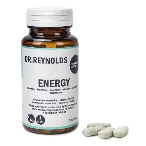 DR.REYNOLDS - Energy | Triptófano + Magnesio + Espirulina + Vitamina B3, B5, B6 + Melatonina | Metabolismo energético | Sistema nervioso | Rendimiento intelectual | Cansancio y Fatiga | Estrés | 60 Ud
