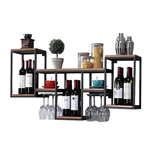 ZCZZ Unité Industrielle en métal et Bois, étagères en Bois Flottant Rustique fixé au Mur, casier à vin, Support de Verre à vin, étagères de Rangement suspendues Vintage Lourd Dut
