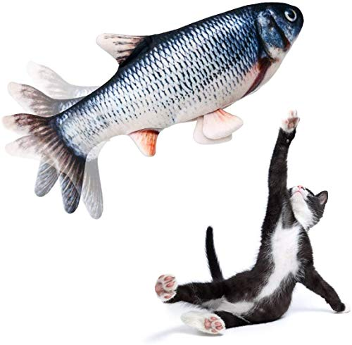 Backagin Electric Flippity Fish Cat Toy Dancing Fish Toy Flops and Wiggles Like a Real Fish Includes Catnip Motion Sensor Kitten Toy for Cat Chew Bite KickUSBChargeableWashable