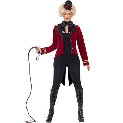Amakando Bezauberndes Dompteurin-Kostüm für Damen / Dunkelrot-Schwarz S (34/36) / Zirkus-Kostüm Löwenbändigerin / EIN Highlight zu Karneval & Themenabend