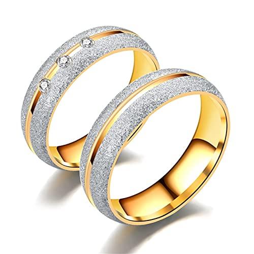 Aotiwe Anello di Fidanzamento Coppia Oro Argento Anelli Scanalatura Centrale Cz, Acciaio Inossidabile Anelli di Coppia Donna 27 & Uomo 17