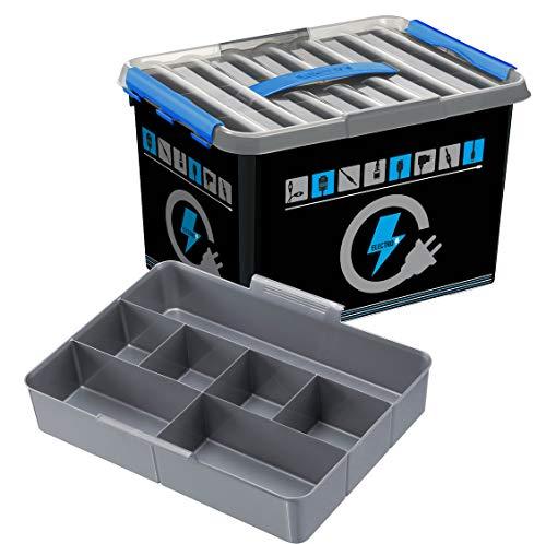 Sunware Q-Line Elektronik Box 22Liter mit Einsatz Farbe, Schwarz, Transparent, Blau, One Size
