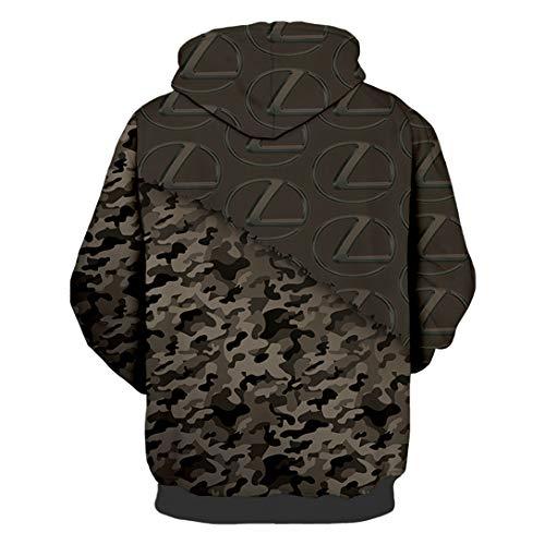 Unisex Spring Long Sleeve Hoodie 3D Digital International Lexus Logo Print Sweatshirt Casual Sweatshirt
