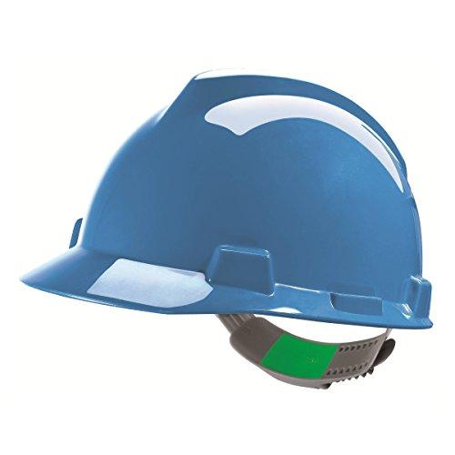 Casco de Protección MSA V-Gard con Ajuste Deslizante PushKey - Casco de Trabajo Casco de Seguridad Casco de Construcción, Color: Azul ✅