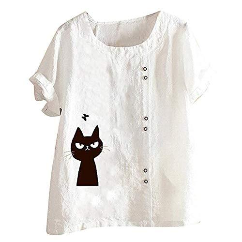 SALEBLOUSE Oberteile Blusen Tops Damen Sommer Rundhals T-Shirt Shirts für Damen Große Größe Blumendruck Katze gedruckt Elegant Tunika Crop Top