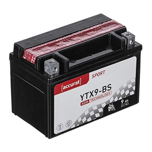Accurat Motorradbatterie YTX9-BS 9Ah 120A 12V AGM-VRLA-Technologie Starterbatterie inkl. Säurepack robust auslaufsicher & wartungsfrei