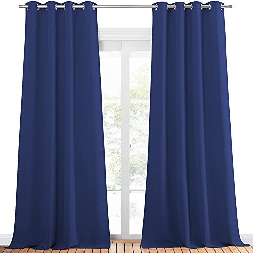 PONY DANCE Cortinas Opacas Moderno - Cortina Térmicas Aislantes con Ollaos para Dormitorio, 2 Piezas, 140 x 300 cm, Azul Oscuro