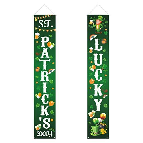 Amosfun 1 paar deur vlag voordeur gordijn Iers Festival herbruikbare partij benodigdheden hangende teken decoratie Banner voor display 180*32cm Afbeelding 2