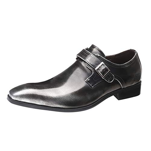 FNKDOR Schuhe Herren Lackleder Spitz Schnalle Elegant Anzugschuhe Slip-on Business-Schuhe Berufsschuhe Bankett Party Hochzeitsschuhe Grau 43 EU