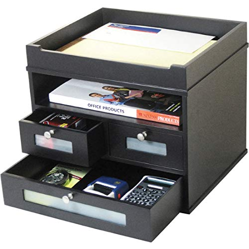 Midnight Black Wood Tower Desktop Organizer with Drawers