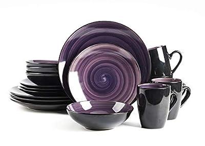 HomeVss Sonoma 16 Piece Stoneware Dinner Set, Outside Black + Inside Handpainted Color Purple with speckle