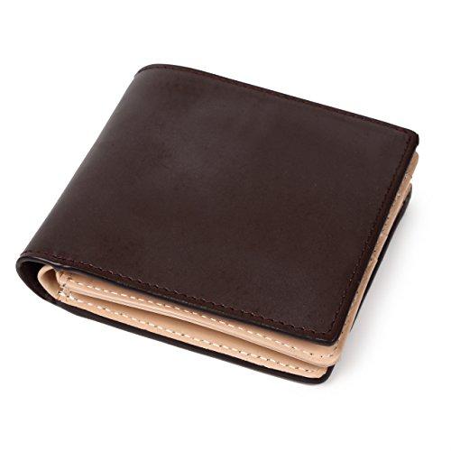 [ラファエロ] ブライドルレザー 二つ折り財布 メンズ (ダークチョコ)