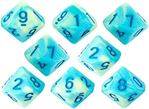 Paladin Roleplaying Blue and Yellow Dice - 8 D10 Set - 'Blue Mist'