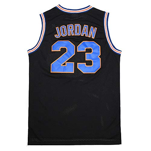 Mens Space Jam Jersey #23 Moive Basketball Jerseys Shirts (Black, Medium)