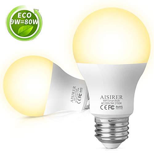 Alexa Smart LED Lampen E27, AISIRER WLAN Glühbirne Dimmbar, 9W Warmweiß Licht, Timing Funktion, Kompatibel mit Amazon Alexa Echo Echo dot Google Home, Kein Hub Erforderlich, 2700K Birne(2 Stück)