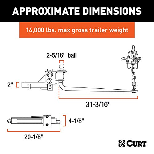 CURT 17063 Round Bar Weight Distribution Hitch with Integrated Lubrication and Sway Control, Up to 14K, 2-In Shank, 2-5/16-Inch Ball , Black