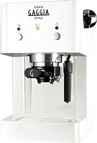 Gaggia RI8423/21 GranGaggia Style White - Macchina Manuale per il Caffè Espresso, per Macinato e Cialde, 15 bar, 1L, Bianco