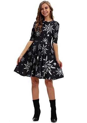 URVIP Damen Weihnachten Halloween A-Linie Weihnachtskleid Printing Partykleid Swing Kleider Weihnachts Frauen Kleidung BGE-009 M