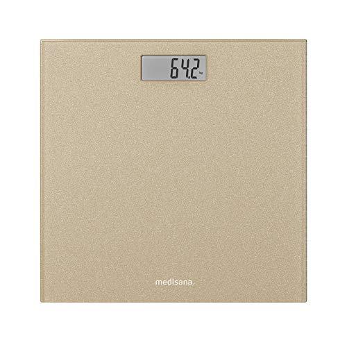 Medisana PS 500 Bilancia Personale Digitale fino a 180 kg, Bilancia Da Bagno In Vetro, Bilancia a Motivo, Interruttore 'Step-On' in Oro