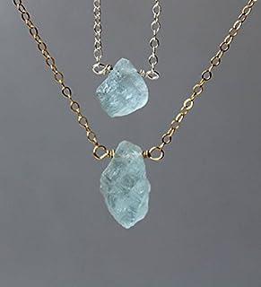 Collar de aguamarina áspera, collar de aguamarina cruda, collar de aguamarina, collar de piedras preciosas, relleno de or...