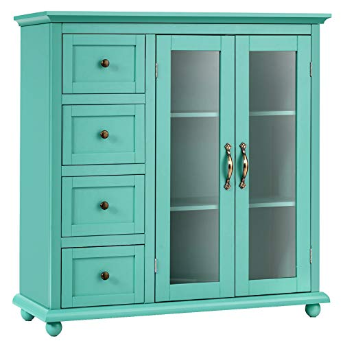 Giantex Buffet Sideboard, Wood Storage Cabinet, Console Table with 4 Drawers, 2-Door Credenza, Living Room Dining Room Furniture, Buffet Server, Kitchen Pantry Cupboard (Sea Green)