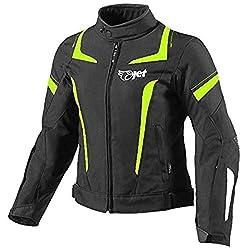 Jet Motorradjacke Damen Mit Protektoren Textil Wasserdicht Winddicht (4XL (EU 46-48), Fluro)
