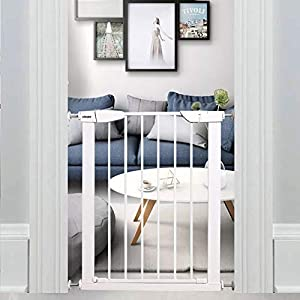 WAOWAO Narrow Baby Gate Easy Walk Thru Pressure/Hardware Mount Auto Close White Metal Child Dog Pet Safety Gates 29.13in Tall for Top of Stairs,Doorways,Kitchen and Living Room 22.83-25.59 in