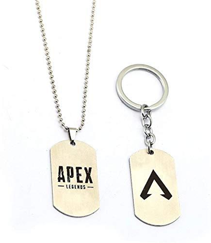 CCXXYANG Co.,ltd Collar Juego De 2 Piezas Apex Legends Collar Llaveros Juguetes De Acción De Metal Llavero Apex De Acero Inoxidable Juguetes para Niños