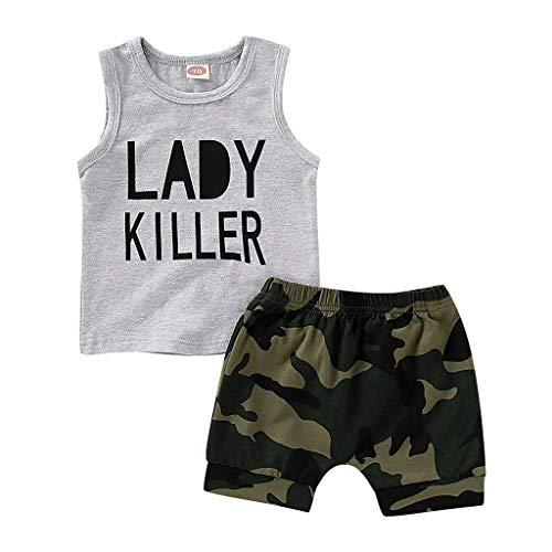 cover Babykleidung Neugeborene Sommer, Säugling Baby Junge Kind Brief Gedruckt Weste Tops + Tarnen Kurze Hose Camouflage Outfits Set (6-12 Monate, Grau)