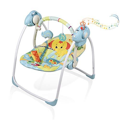 VASTFAFA Altalena Elettrica Neonato, baby rocker con zanzariere 16 melodie e 6 velocità di rotazione nuovo regalo per neonati sedia a dondolo per bambino (Blu)