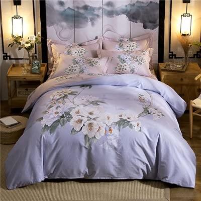 2021 estilo clásico algodón de cuatro piezas de algodón de cuatro piezas de la colcha de la colcha de 1.8m 2m Conjunto de ropa de cama con patrón decoración primavera Conjuntos de ropa de cama