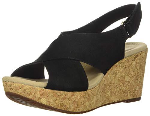 Clarks Women's Annadel Eirwyn Wedge Sandal, Black Nubuck, 10 W US