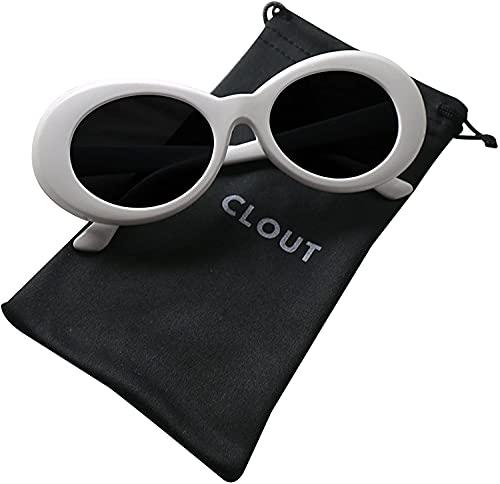 Clout Goggles HypeBeast Oval Sunglasses Mod Style Kurt Cobain (White)