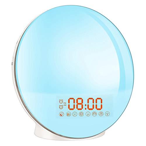 Lichtwecker Wake Up Licht Bawoo Led Wecker mit Sonnenaufgangssimulation Nachttischlampe Nachtlicht mit FM Radio 8 natürlichen Sounds 7 Farben Snooze Funktion