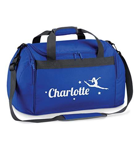 beyondsome Personalisierte Glitzer-Tänzerin Tasche für Tanz, Schulranzen, Geschenk L Royal Blue/White Print