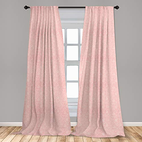 """Ambesonne Pale Pink Curtains, Flowers Spiral Leaves Heart Lovers Romantic Girls Ornate Design, Window Treatments 2 Panel Set for Living Room Bedroom Decor, 56"""" x 95"""", White Coral"""